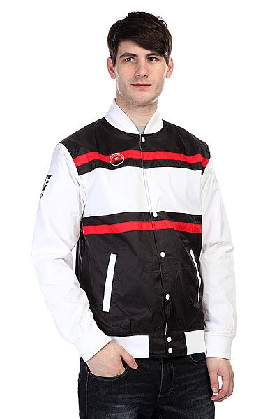 Бомбер DC Rd Mvp WhiteСтильна куртка – бомбер отлично подойдет самым искушенным модникам. Характеристики:Внутренн подкладка из нейлона. Эластичные лайкровые манжеты на рукавах, воротнике и подоле.  Застежка-кнопки.  Прорезные карманы дл рук. Фасон: бомбер (bomber jacket).<br><br>Цвет: черный,белый,красный<br>Тип: Бомбер<br>Возраст: Взрослый<br>Пол: Мужской