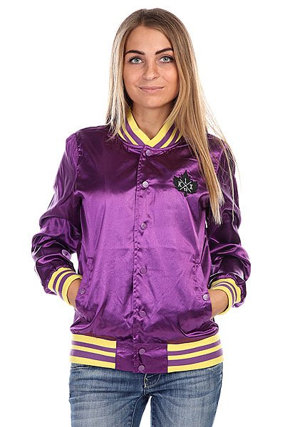 Бомбер женский K1X Satin Varsity Jacket Purple/Yellow