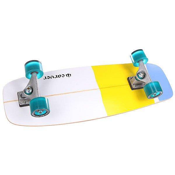 Скейт мини круизер Carver C7 Mini Simmons Complete Blue/Yellow 9.5 x 27.5 (69.9 см)Эта модель вдохновлена суперкороткими сёрфами с тупым носом, разработанными Бобом Симмонсом в конце 1940-х годов. Для данной модели это означает, что Вы получаете короткую легкую доску с широким носом прямо&amp;nbsp;над подвеской, что позволяет поставить ногу как можно дальше. Также, в отличие от большинства коротких досок, эта модель достаточно широка и имеет полноценный киктейл, работающий как отличный рычаг для прыжков.&amp;nbsp;Технические характеристики: Размеры: 9,375 х 27,5 (23,8 см. х 69,85 см.) Колёсная база: 14,875 (37,8 см.) Нос: 7 см. Хвост: 14 см. Подвеска: Carver C7. Материал: клён.Расположение подвесок на доске, представленное на фото, может отличаться от действительности<br><br>Цвет: голубой,желтый,белый<br>Тип: Скейт мини круизер