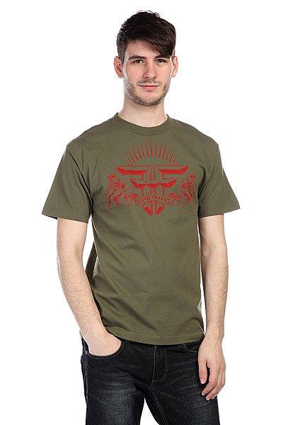 Футболка Fallen Uprising Shirt Army/Red<br><br>Цвет: зеленый<br>Тип: Футболка<br>Возраст: Взрослый<br>Пол: Мужской