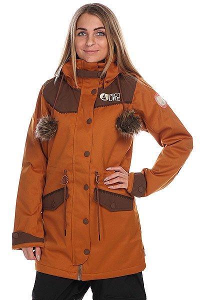 Куртка женская Picture Organic Amber BrownНеповторимый дизайн и теплые зимние характеристики делают эту куртку практически незаменимой на снежных склонах. Характеристики:Мембрана: двухслойная мембрана 10,000 мм /10,000 гр. Критические швы проклеены. Регулируемый капюшон со съемным синтетическим мехом. Внутренний нагрудный карман. Карман для маски на молнии. Секретный карман. Эластичные манжеты с отверстием для большого пальца. Фиксированная снежная юбка. Утепленные карманы для рук.<br><br>Цвет: коричневый<br>Тип: Куртка утепленная<br>Возраст: Взрослый<br>Пол: Женский