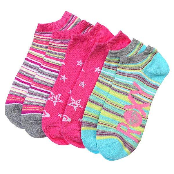Носки низкие женские Roxy 3pk Sun Rise Stripe Ns Multi<br><br>Цвет: розовый,голубой,мультиколор<br>Тип: Комплект носков<br>Возраст: Взрослый<br>Пол: Женский