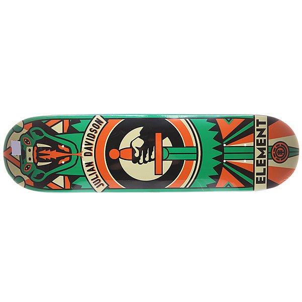 Дека для скейтборда для скейтборда Element S5 Julian Totem 32 x 8.0 (20.3 см)Ширина деки: 8.0 (20.3 см)    Длина деки: 32 (81.3 см)    Количество слоев: 7<br><br>Цвет: черный,оранжевый,зеленый<br>Тип: Дека для скейтборда