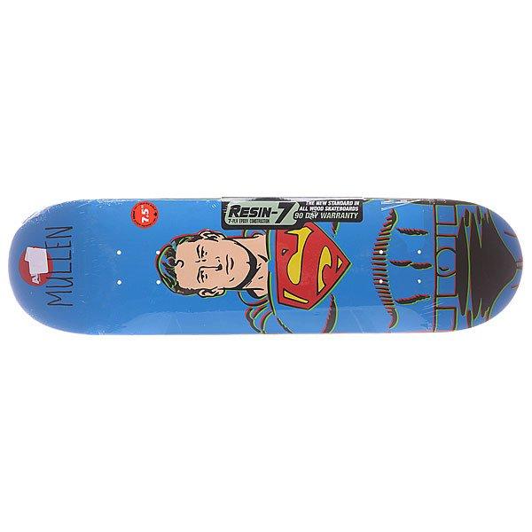 Дека для скейтборда для скейтборда Almost S5 Mid Mullen Superman R7 29.3 x 7.5 (19.1 см)Ширина деки: 7.5 (19.1 см)    Длина деки: 29.3 (74.4 см)    Количество слоев: 7<br><br>Цвет: синий<br>Тип: Дека для скейтборда
