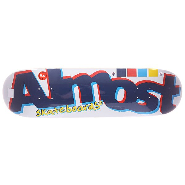 Дека для скейтборда для скейтборда Almost S5 Off Register White 32 x 8.5 (21.6 см) дека для скейтборда для скейтборда footwork progress shabala forever 32 5 x 8 25 21 см