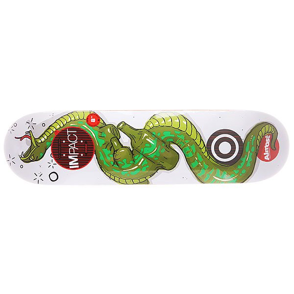 Дека для скейтборда для скейтборда Almost S5 Willow Snakes Double Impact 31.6 x 8.0 (20.3 см)Ширина деки: 8.0 (20.3 см)    Длина деки: 31.6 (80.3 см)    Количество слоев: 7<br><br>Цвет: белый,зеленый<br>Тип: Дека для скейтборда