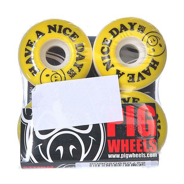 Колеса для скейтборда для скейтборда Pig Nice Day Yellow/Black 101A 55 mmДиаметр: 55 mm    Жесткость: 101A    Цена указана за комплект из 4-х колес<br><br>Цвет: белый,желтый,черный<br>Тип: Колеса для скейтборда