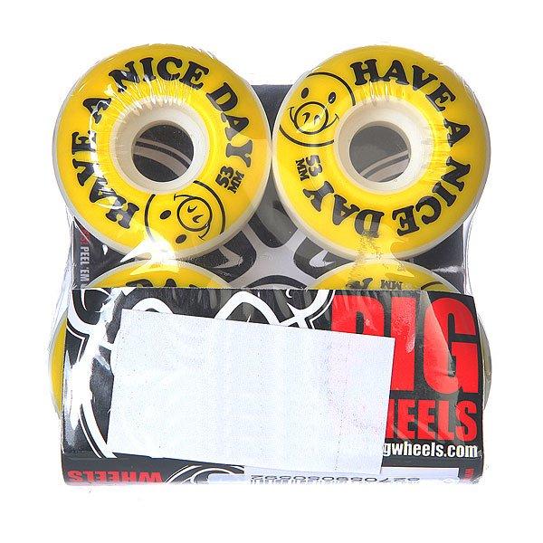 Колеса для скейтборда для скейтборда Pig Nice Day Yellow 101A 53 mmДиаметр: 53 mm    Жесткость: 101A    Цена указана за комплект из 4-х колес<br><br>Цвет: белый,желтый,черный<br>Тип: Колеса для скейтборда