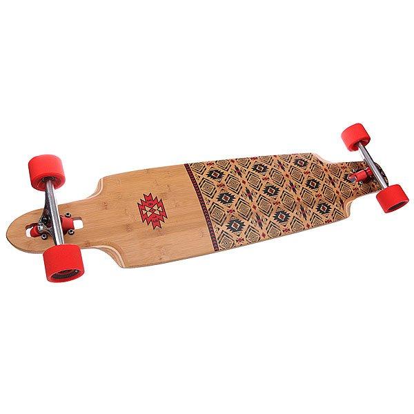 Лонгборд Globe Spearpoint Red/Bamboo 9.75 x 40 (101.6 см)Симметричный направленный лонгборд  из легкого бамбука с двусторонними гриптейлами и глубоко посаженными колесами идеально подойдет для карвинга.Технические характеристики:  Дека: бамбук.  Подвеска: 180 мм Slant Inverted trucks. Колеса: 69 mm 83A.Подшипники: ABEC 7.<br><br>Цвет: красный,черный,бежевый<br>Тип: Лонгборд