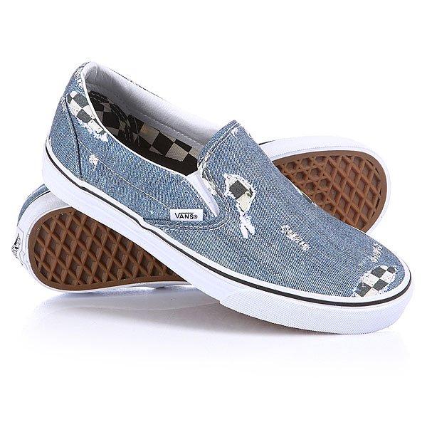 Купить Обувь   Слипоны Vans Classic Slip-on Denim/Checkered Black