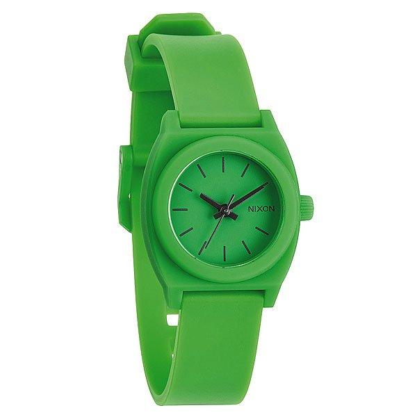 Часы женские Nixon Small Time Teller P Neo PreenХарактеристики: Японский кварцевый механизм.Корпус: цельный корпус из нержавеющей стали,усиленное минеральное стекло.Браслет: из полимера cзапатентованнойтехнологией Looper и застежкой из нержавеющей стали.Водонепроницаемость 10 atm (100 м).<br><br>Цвет: зеленый<br>Тип: Кварцевые часы<br>Возраст: Взрослый<br>Пол: Женский