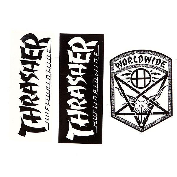 Наклейки Thrasher Huf X Thrasher Sticker Pack AssortedКомплект наклеек от Thrasher Huf. Будь стильным и украшай все, что тебя окружает.Характеристики:Комплект из 3 штук.<br><br>Цвет: черный,белый<br>Тип: Наклейки