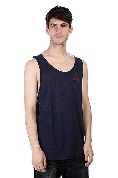 Майка Huf Streaky Wash Tank Navy майка huf 12 galaxies tank burgandy heather