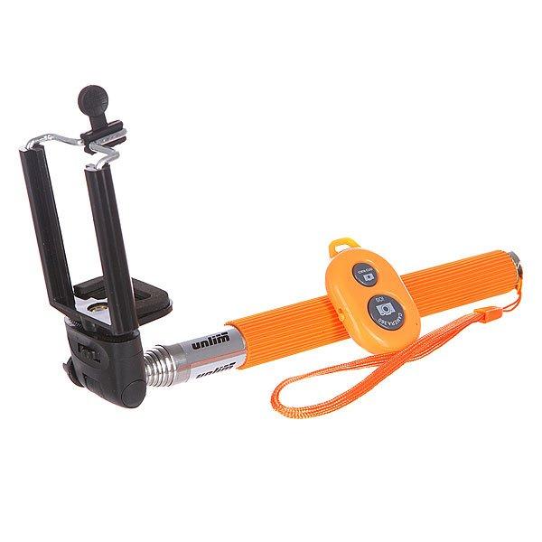 Монопод Unlim С Пультом Un-0831a Orange 100 СмГлавной отличительной особенностью данного монопода от упрощенных версий является наличие держателя для пульта управления камерой при удаленной съемке. Вы сможете спустить затвор камеры нажатием кнопки той же рукой, которой держите монопод. Это намного упростит создание качественных снимков. Технические характеристики: Основной материал: сталь. Вес: 162 гр. Длина: от 22 см до 100 см. Совместимо с устройствами на платформе iOS и Android. Крепление: под штативный винт. Материал: сплавы алюминия. Не требует установки дополнительных приложений.<br><br>Цвет: оранжевый,черный<br>Тип: Моноподы<br>Возраст: Взрослый