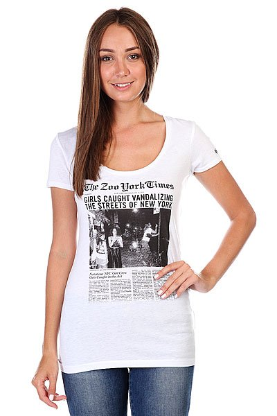Футболка женская Zoo York Arrested Scoop White цены онлайн