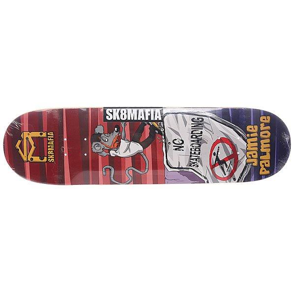 Дека для скейтборда для скейтборда Palmore Sk8mrats Red 32.38 x 8.5 (21.6 см)Ширина деки: 8.5 (21.6 см)    Длина деки: 32.38 (82.2 см)    Количество слоев: 7Независимо от того, катаете ли вы в парке или на тротуарах – доска Palmore Sk8mrats наилучший снаряд для этого.Технические характеристики:  Дека из 7-слойного клена. Специальная технология прессования и склейки добавляет жесткости и флекса .  Про-модель Jamie Palmore. Направленность: street.<br><br>Цвет: мультиколор<br>Тип: Дека для скейтборда