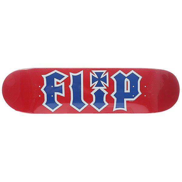 Дека для скейтборда для скейтборда Flip Team Red 31.5 x 8.0 (20.3 см)Ширина деки: 8.0 (20.3 см)    Длина деки: 31.5 (80 см)    Количество слоев: 7Классическая дека для любителей классики.Технические характеристики: Материал: канадский клен.  Плотность: 7 слоев.<br><br>Цвет: красный,синий<br>Тип: Дека для скейтборда