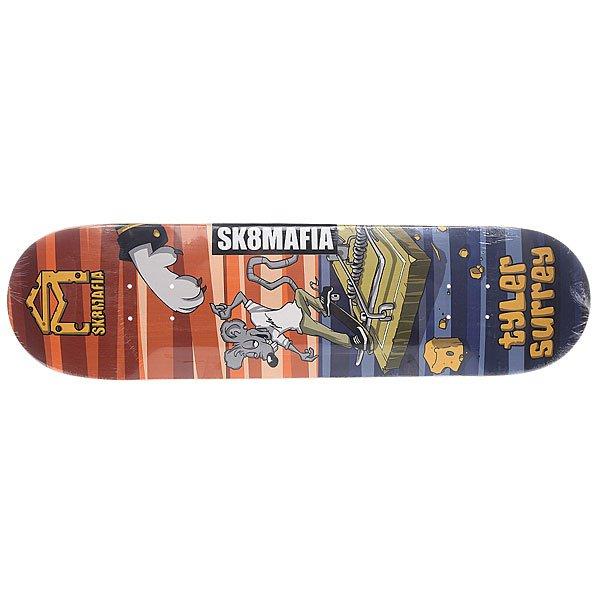 Дека для скейтборда для скейтборда Sk8mafia Surrey Sk8rats Multi 32.12 x 8.19 (20.8 см)Ширина деки: 8.19 (20.8 см)    Длина деки: 32.12 (81.6 см)    Количество слоев: 7Изысканная графика и фирменный стиль отличают доску Sk8mafia Surrey Gamer от многих других.Технические характеристики:  Дека из 7-слойного клена. Форма: стандарт. Направленность: street. Про-модель Tyler Surrey.<br><br>Цвет: мультиколор<br>Тип: Дека для скейтборда