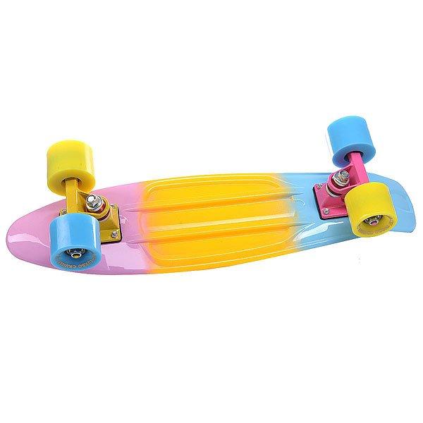 Скейт мини круизер Turbo-FB LikeaP Pink/Yellow/Blue 22 (55.9 см)Пластиковый круизер TURBO-FB - это воплощение стараний ребят из одноименного Российского бренда, которые вот уже более 10 лет выпускают скейтборды и получается это у них, прямо скажем, отлично!  Данная модель круизера обладает целым рядом преимуществ: подшипники ABEC-7 позволят Вам ехать быстрее и дольше с одного толчка ногой, бушинги Thunder сделают управление легким и плавным, а качественная доска прослужит Вам не один сезон! Наслаждайтесь катанием вместе с TURBO-FB!Технические характеристики: Дека Turbo-Fb 56 см x 14.5 см.Подвески Turbo-Fb.Бушинги Thunder.Колеса Turbo-Fb 56 мм 85A.Подшипники Abec-7.Никелированные винты.Изделие не предназначено для трюков и рассчитано на массу до 80кг.<br><br>Цвет: розовый,желтый,голубой<br>Тип: Скейт мини круизер