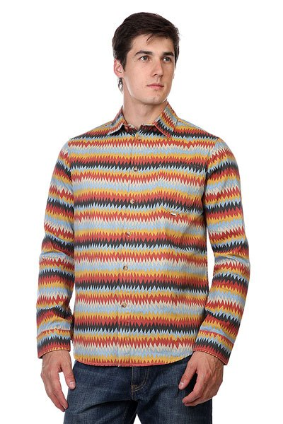 Мужская рубашка Рубашка Altamont Peyote Ls Woven Red/Gold от Proskater