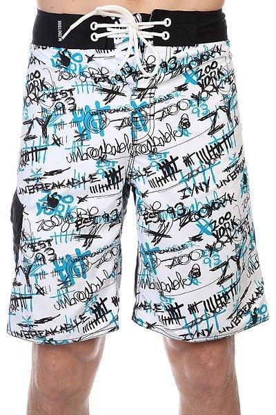 Шорты пляжные Zoo York Enew15 Scratched WhiteДанная модель не имеет внутренней подкладки в виде сеточки<br><br>Цвет: белый,черный,голубой<br>Тип: Шорты пляжные<br>Возраст: Взрослый<br>Пол: Мужской