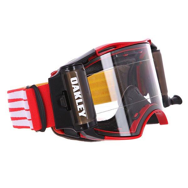 Маска для мотоспорта Oakley Airbrake Mx Roll-Off-Red Retro Speed ClearМаска с ударопрочными линзами Plutonite™ и технологией быстрой замены линз Switchlock™ позволит наслаждаться безопасным и комфортным катанием в любых условиях.Технические характеристики: Ударопрочные линзы Plutonite™.Защита от запотевания F3 Anti-fog.Технология быстрой замены линз Switchlock™.Гибкая оправа O Matter™.Встроенная система перемотки пленки.Тройной слой пены и слой микро флиса.Широкий регулирующийся ремень.Силиконовые нити против скольжения.Сумка и чехол в комплекте.<br><br>Цвет: черный,красный<br>Тип: Маски<br>Возраст: Взрослый<br>Пол: Мужской