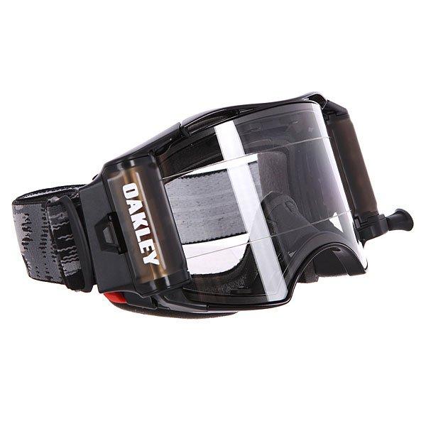 Маска для мотоспорта Oakley Airbrake Mx Roll-Off-Jet Black ClearМаска с ударопрочными линзами Plutonite™ и технологией быстрой замены линз Switchlock™ позволит наслаждаться безопасным и комфортным катанием в любых условиях.Технические характеристики: Ударопрочные линзы Plutonite™.Защита от запотевания F3 Anti-fog.Технология быстрой замены линз Switchlock™.Гибкая оправа O Matter™.Встроенная система перемотки пленки.Тройной слой пены и слой микро флиса.Широкий регулирующийся ремень.Силиконовые нити против скольжения.Сумка и чехол в комплекте.<br><br>Цвет: черный,серый<br>Тип: Маски<br>Возраст: Взрослый<br>Пол: Мужской