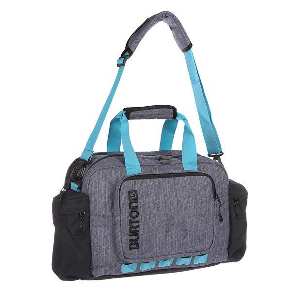 Сумка Burton Access Messenger 20L Lagoon HeatherХорошая вместительность и уникальный дизайн: подобно рюкзаку, эта сумка оснащена поясным ремнем, позволяющим плотно закрепить её на спине, а также отделениями для ноутбука и планшета с быстрым доступом. Характеристики:Поясной ремень, позволяющий закрепить сумку на талии.  Мягкое отделение для ноутбука на молнии с быстрым доступом (41 х 30.5 х 3 см).  Карман на молнии для планшета или маленького ноутбука (24 х 19 х 2,5 см).  Двойное основное отделение и 2 боковых кармана на молнии.  Внутренние карманы-органайзеры.  Задний потайной карман для денег и документов. Форм-фактор – сумка-органайзер (messenger bag).<br><br>Цвет: серый,черный<br>Тип: Сумка спортивная<br>Возраст: Взрослый<br>Пол: Мужской