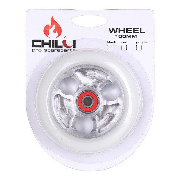 Колесо для самоката Chilli Parabol Wheel 100Mm White/Chrome Core W/Print chilli руль для самоката pro t bar xl 58 cm hic black 1153605
