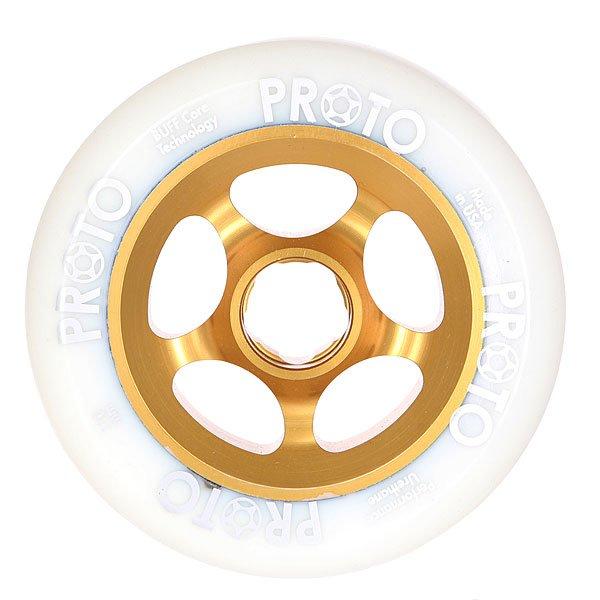 Колесо для самоката  Proto Scooters Slider 110mm White On GoldВысококачественные колеса, которые необходимы для вашего самоката. Ведь он ждет обновлений! Порадуй своего лучшего друга!Характеристики:Изготовлены из металла и полиуретана. Комплектуются подшипниками Proto Scooters. Комплект из 2х штук.<br><br>Цвет: белый,коричневый<br>Тип: Колесо для самоката