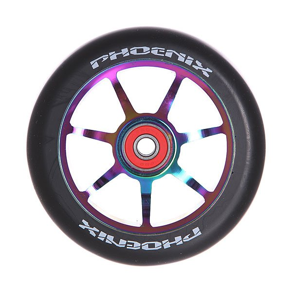 Колесо для самоката Phoenix Phoenix F7 Alloy Core Wheel 110mm With Abec 9 Bearings Neo Chrome/BlackPhoenix<br><br>Цвет: черный,мультиколор<br>Тип: Колесо для самоката