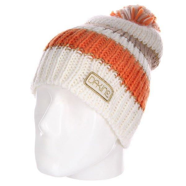 Шапка с помпоном женская Dakine Sadie White/Orange<br><br>Цвет: бежевый,оранжевый,коричневый<br>Тип: Шапка<br>Возраст: Взрослый<br>Пол: Женский