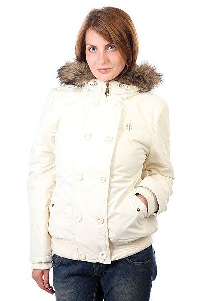 Куртка женская Element Becks Glass WhiteКороткая куртка в стиле большого города, удобная, теплая и практичная. Отличный вариант для активного отдыха или насыщенной городской жизни.Технические характеристики: Водостойкое покрытие 600 мм.Материал - Таслан.Стеганая подкладка с принтом.Утеплитель.Фиксированный капюшон с регулировкой.Съемный искусственный мех на капюшоне.Внутренние трикотажные манжеты и подол.Карманы для рук на кнопке.Застежка на молнии с ветрозащитным клапаном.Вышитый логотип Element.<br><br>Цвет: белый<br>Тип: Куртка зимняя<br>Возраст: Взрослый<br>Пол: Женский
