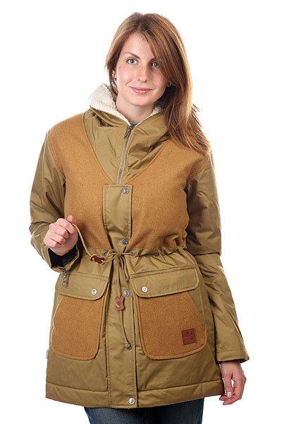 Куртка женская Element Wild Side Dark KhakiОтличная куртка, которая способна защитить вас от холода, дождя и ветра.Характеристики:Внутренняя подкладка из стеганой тафты. Застежка – молния+кнопки.Эластичные манжеты на рукавах и воротнике. Внешняя регулировка ширины пояса. Два боковых накладных кармана для рук. Фасон – стандартный удлиненный (regular  long fit).<br><br>Цвет: коричневый<br>Тип: Куртка зимняя<br>Возраст: Взрослый<br>Пол: Женский