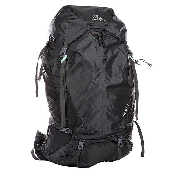 Рюкзак туристический женский Gregory Nw Deva Charcoal GrayGREGORY Deva 85 - практичный рюкзак, разработанный с учетом опыта профессиональных альпинистов для женщин. Оптимальное сочетание прочности, вместительности и эргономичности. Корпус туристического рюкзака усилен легкими алюминиевыми стойками. Это решение позволяет сохранять его форму вне зависимости от нагрузки, а также защищать туристическое снаряжение от повреждений не утяжеляя ношу. Распределение нагрузки на плечи и спину обеспечивается за счет уникальной подвесной системы Response Auto Fit Suspension: цельнокройная вентилируемая спинка выполнена с учетом особенностей женской анатомии, широкие регулируемые плечевые лямки и пояс LifeSpan выполнены с использованием вспененного наполнителя EVA. Характеристики: Дизайн и конструкция созданы специально для женщин. Плечевые лямки и набедренный пояс сделаны из мягкого материала, который обеспечивает плотное прилегание и надежную посадку рюкзака.Разрабатывались с учетом анатомических особенностей женского тела. Две петли для крепления ледоруба или двух ледовых инструментов. Дополнительный вход снизу рюкзака и открывающаяся передняя часть позволяют добраться до нужных вещей наиболее коротким и удобным путем. Регулируемая по высоте грудная стяжка. Карманы на поясе с каждой стороны. Их размер позволяет уместить рацию или цифровой фотоаппарат. Термо-формируемая спинка рюкзака с эластомерной вставкой на пояснице. Хорошо вентилируется, что способствует быстрому испарению влаги. Регулируемый по высоте клапан при необходимости может быть снят и упакован в рюкзак. Возможна установка гидратора (питьевой системы). Водоотталкивающее покрытие ткани, защищенные молнии и двойное усиленное дно. Боковые стяжки, позволяющие уменьшить объем рюкзака при неполной загрузке. Также смещается центр тяжести рюкзака ближе к спине, благодаря чему движения становятся свободнее. Удобный держатель для бутылки. Затяжка поясного ремня сделана по принципу полиспаста, что позволяет выиграть в силе. К