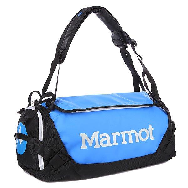 Сумка Marmot Long Hauler Duffle Bag Small Cobalt Blue/BlackСреднеразмерная дорожная сумка MARMOT Long Hauler выполнена из баллистического нейлона плотностью 1260d, что гарантирует долгий срок службы и устойчивость к механическим повреждениям. Продуманная эргономика универсальной спортивной сумки позволит вам без труда брать с собой все необходимое снаряжение, при этом D-образная молния с двумя замками обеспечит удобный доступ внутрь. Застежки защищены от случайного раскрытия сумки. Имеется медиа-карман и внутренний кармашек на молнии для скрытого ношения ценных вещей. Широкая лямка регулируется по длине и обеспечивает оптимальное распределение нагрузки на спину и плечо.Характеристики:Съемный плечевой ремень и ручки для переноски. D–образная верхняя молния.  Компрессионные стропы.  Легкий доступ к внешним карманам. Удобные петли с обеих сторон. Внутренние карманы. Эргономичные ручки.  Форм-фактор - спортивная сумка (Athletic bag).<br><br>Цвет: синий<br>Тип: Сумка спортивная<br>Возраст: Взрослый<br>Пол: Мужской