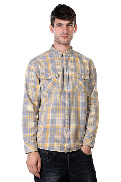 Рубашка в клетку Quiksilver Tang Titan Flinstone<br><br>Цвет: серый,желтый<br>Тип: Рубашка в клетку<br>Возраст: Взрослый<br>Пол: Мужской