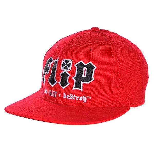 Бейсболка Flip Hate Kill Destroy Red<br><br>Цвет: красный<br>Тип: Бейсболка с прямым козырьком<br>Возраст: Детский