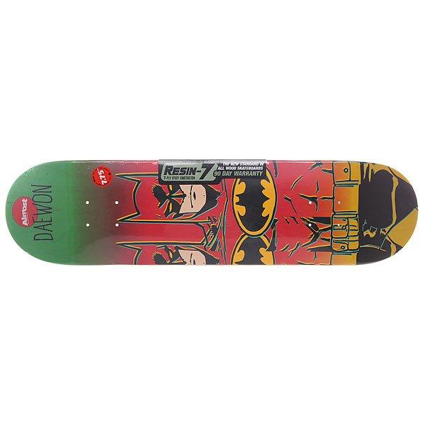 Дека для скейтборда для скейтборда Almost Batman Fade R7 Daewon 31.1 x 7.75 (19.7 см)Ширина деки: 7.75 (19.7 см)    Длина деки: 31.1 (79 см)    Количество слоев: 7<br><br>Цвет: зеленый,желтый,бордовый,черный<br>Тип: Дека для скейтборда