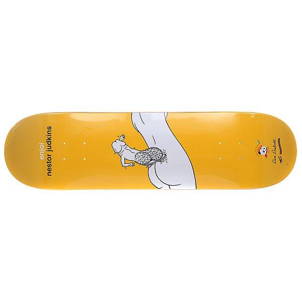 Дека для скейтборда для скейтборда Enjoi Judkins Dont Be A Dick R7 31.7 x 8.25 (21 см)Ширина деки: 8.25 (21 см)    Длина деки: 31.7 (80.5 см)    Количество слоев: 7 Прочная семислойная дека из канадского клёна с мощным щелчком от Enjoi. Технические характеристики:   Глубокий киктейл. Назначение: Фрирайд. Конструкция: Канадский клен. Слои: 7 слоев.<br><br>Цвет: желтый,белый<br>Тип: Дека для скейтборда