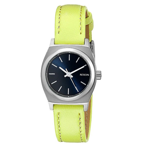 Часы женские Nixon Small Time Teller Leather Navy/Neon Yellow