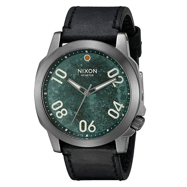 Часы Nixon Ranger 45 Leather Gunmetal/Green Oxyde часы nixon corporal ss gunmetal green oxyde