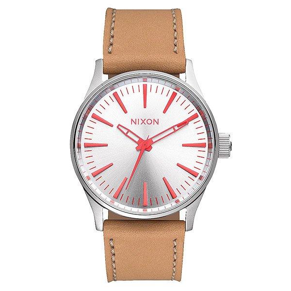nixon часы женские 38 20 leather black hot pink Часы Nixon Sentry 38 Leather Silver/Bright Coral/Natura