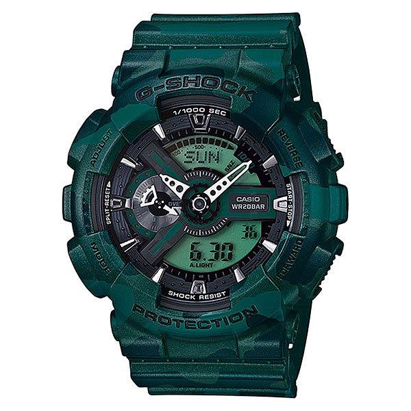 Часы Casio G-Shock Ga-110cm-3a GreenХарактеристики: Светодиодная подсветка дисплея и стрелок. Ударопрочная конструкция защищает от ударов и вибрации. Функция мирового времени.Отображение времени: аналоговый + цифровой, формат 12/24 часа, секундная стрелка отсутствует.Таймер с минутной точностью и автоповтором. 5 ежедневных будильников, сигнал каждый час. Включение/выключение звука кнопок.   Индикатор запаса хода, второй часовой пояс, будильник. Вечный календарь, число, месяц, день недели.Прочное, устойчивое к царапинам минеральное стекло защищает часы от повреждений.Корпус из полимерного пластика и нержавеющей стали. Ремешок из полимерного материала. Водонепроницаемость (20 Бар/200 м). Защитная функция антимагнит – элемент питания CR1220.<br><br>Цвет: зеленый<br>Тип: Кварцевые часы<br>Возраст: Взрослый<br>Пол: Мужской