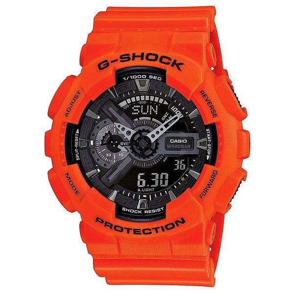 Часы Casio G-Shock Ga-110mr-4a OrangeХарактеристики: Светодиодная подсветка дисплея и стрелок. Ударопрочная конструкция защищает от ударов и вибрации. Функция мирового времени.Отображение времени: аналоговый + цифровой, формат 12/24 часа, секундная стрелка отсутствует.Таймер с минутной точностью и автоповтором. 5 ежедневных будильников, сигнал каждый час. Включение/выключение звука кнопок.   Индикатор запаса хода, второй часовой пояс, будильник. Вечный календарь, число, месяц, день недели.Прочное, устойчивое к царапинам минеральное стекло защищает часы от повреждений.Корпус из полимерного пластика и нержавеющей стали. Ремешок из полимерного материала. Водонепроницаемость (20 Бар/200 м). Защитная функция антимагнит – элемент питания CR1220.<br><br>Цвет: оранжевый<br>Тип: Кварцевые часы<br>Возраст: Взрослый<br>Пол: Мужской