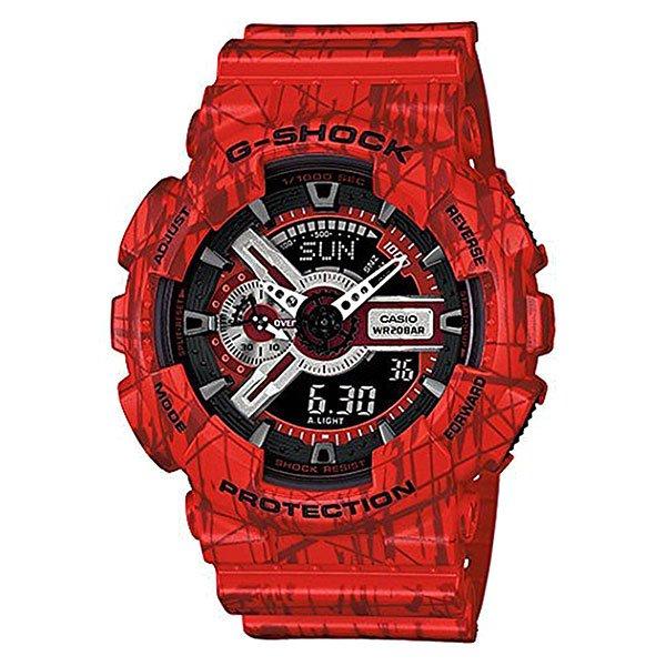 Часы Casio G-Shock Ga-110sl-4a RedХарактеристики: Светодиодная подсветка дисплея и стрелок. Ударопрочная конструкция защищает от ударов и вибрации. Функция мирового времени.Отображение времени: аналоговый + цифровой, формат 12/24 часа, секундная стрелка отсутствует.Таймер с минутной точностью и автоповтором. 5 ежедневных будильников, сигнал каждый час. Включение/выключение звука кнопок.   Индикатор запаса хода, второй часовой пояс, будильник. Вечный календарь, число, месяц, день недели.Прочное, устойчивое к царапинам минеральное стекло защищает часы от повреждений.Корпус из полимерного пластика и нержавеющей стали. Ремешок из полимерного материала. Водонепроницаемость (20 Бар/200 м). Защитная функция антимагнит – элемент питания CR1220.<br><br>Цвет: красный<br>Тип: Кварцевые часы<br>Возраст: Взрослый<br>Пол: Мужской