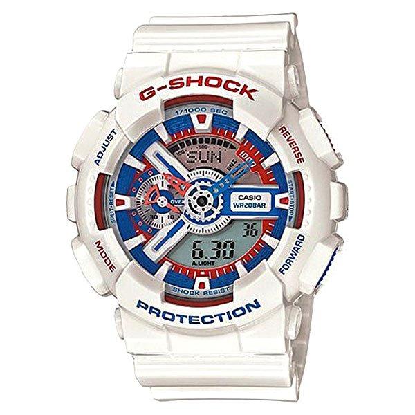 Часы Casio G-Shock Ga-110tr-7a WhiteХарактеристики: Светодиодная подсветка дисплея и стрелок. Ударопрочная конструкция защищает от ударов и вибрации. Функция мирового времени.Отображение времени: аналоговый + цифровой, формат 12/24 часа, секундная стрелка отсутствует.Таймер с минутной точностью и автоповтором. 5 ежедневных будильников, сигнал каждый час. Включение/выключение звука кнопок.   Индикатор запаса хода, второй часовой пояс, будильник. Вечный календарь, число, месяц, день недели.Прочное, устойчивое к царапинам минеральное стекло защищает часы от повреждений.Корпус из полимерного пластика и нержавеющей стали. Ремешок из полимерного материала. Водонепроницаемость (20 Бар/200 м). Защитная функция антимагнит – элемент питания CR1220.<br><br>Цвет: белый<br>Тип: Кварцевые часы<br>Возраст: Взрослый<br>Пол: Мужской