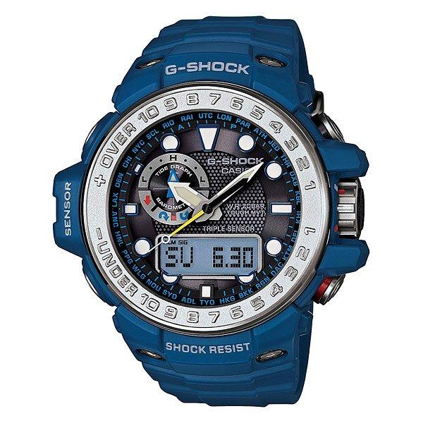 Часы Casio G-Shock Gwn-1000-2a BlueХарактеристики: Светодиодная подсветка дисплея и стрелок. Ударопрочная конструкция защищает от ударов и вибрации. Функция мирового времени.Отображение времени: аналоговый + цифровой, формат 12/24 часа, секундная стрелка отсутствует.Таймер с минутной точностью и автоповтором. 5 ежедневных будильников, сигнал каждый час. Включение/выключение звука кнопок.   Индикатор запаса хода, второй часовой пояс, будильник. Вечный календарь, число, месяц, день недели.Прочное, устойчивое к царапинам минеральное стекло защищает часы от повреждений.Корпус из полимерного пластика и нержавеющей стали. Ремешок из полимерного материала. Водонепроницаемость (20 Бар/200 м). Точность: +/- 15 сек. Функция термометра.<br><br>Цвет: синий<br>Тип: Кварцевые часы<br>Возраст: Взрослый<br>Пол: Мужской