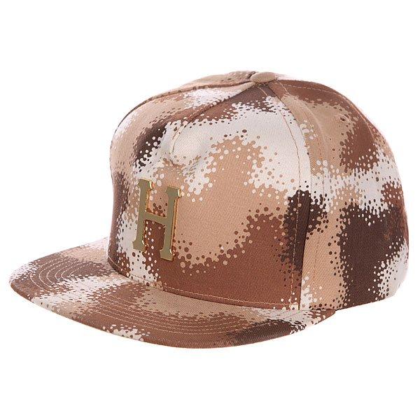 Бейсболка Huf Metal Snapback Box Logo<br><br>Цвет: коричневый,бежевый<br>Тип: Бейсболка с прямым козырьком<br>Возраст: Взрослый<br>Пол: Мужской