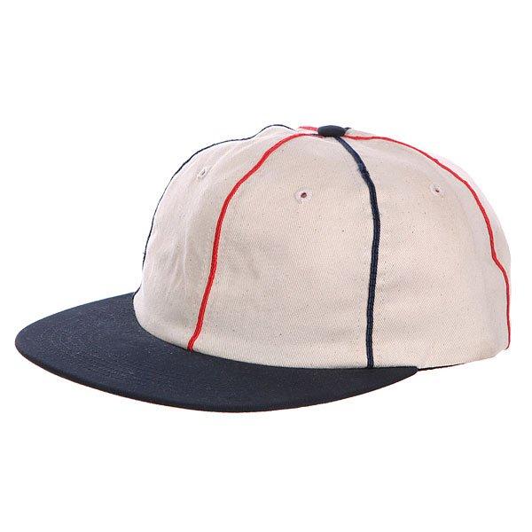 Бейсболка Huf Jackson White<br><br>Цвет: бежевый,синий<br>Тип: Бейсболка с прямым козырьком<br>Возраст: Взрослый<br>Пол: Мужской